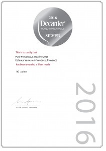 dwwa-silver-medal-pure-provence-lopaline-2015